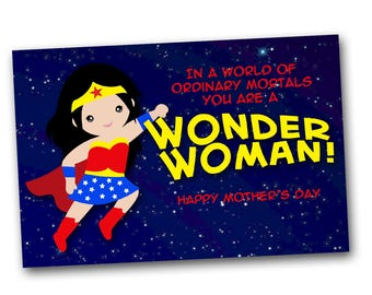 superhero mother's day card Wonder Woman, digital download card mom, printable card mum, instant download