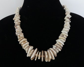20 Inch White Turquoise Freeform Slab Necklace with Earrings