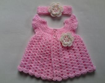 Crochet Baby Girls Dress and Headband Set with crochet flowers, gift, pink dress