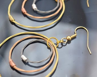 Beautiful Triple Hoop Guitar String Earrings