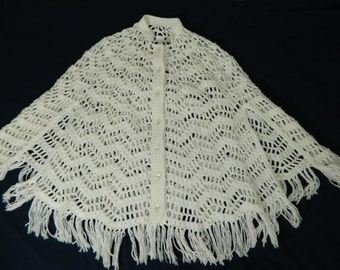 Vintage Crocheted White Poncho