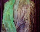 Easter Special Felted collar, original design,Organic, Hand made, in USA, gypsy shawl, Fashion scarf,fairy scarf, Wearable art,healthy fashi