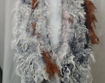 Made in USA lightweight boho felted scarf in white and brown / Wet felted merino wool scarf, Nuno felted wool shawl, gift for mom.