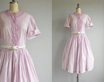 Vintage 50s Dress / 1950s Lavender White Texture Stripe Cotton Circle Skirt Dress