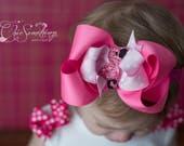 Flamingo bow, flamingo birthday headband, flamingo hair bow flamingo outfit, flamingo birthday, flamingo bow first birthday, flamingo bow UD