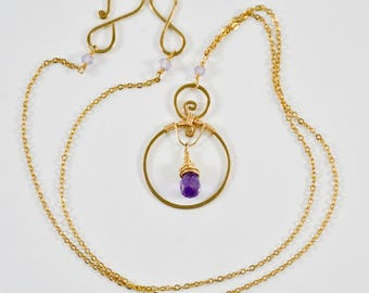 Amethyst and 14KT Gold Necklace- Amethyst and Gold Necklace- Amethyst Necklace- Wire Wrapped Gold Necklace- February Birthstone Necklace