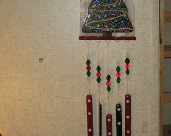 Fused Glass Christmas tree winchime - Item 8-1066