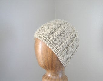 Aran Cable Beanie Hat, Natural Tan Brown, Adult Men or Women, Textured Knit Cap, Soft Wool Blend, Hat with Cables