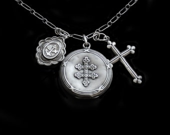 Trio of Beautiful Victorian Silver French Lockets Necklace and Cross- Faith Hope & Charity Locket Locket/ Cross of Lorraine Locket
