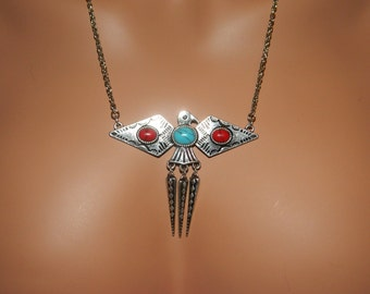 Native American Thunderbird Necklace and Earring Set