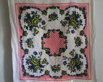 Vintage Tablecloth, Polka Dot Tablecloth, Blue and Green Tablecloth, Square Tablecloth,