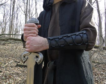 Leather Bracer Lace Up, Archery Arm Guard, Medieval Renaissance Style Deluxe - WOODSMAN
