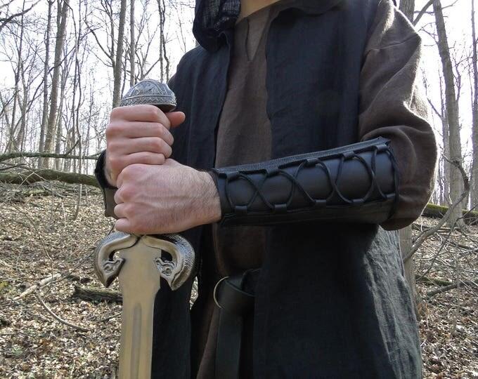 Leather Bracer Lace Up, Archery Arm Guard, Medieval Renaissance Style Deluxe - WOODSMAN