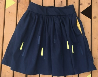 Black Handmade Skirt- sun beam pattern- Ladies clothing, plus sizes, made to order with pockets! Limited edition!