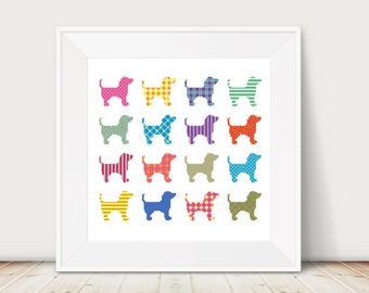 Geometric Puppies, Cross stitch, PDF, Instant download