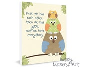 Owls Nursery Decoration Wall Art Baby Nursery Artwork Poster First We Had Each Other Than We Had You Baby Boy Room Art Baby Girl Bedroom Art