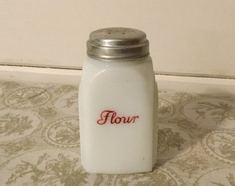 Vintage Milk Glass Flour Shaker,White and Red