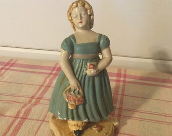 Antique Art Wares Chalkware Girl Figurine,Table Top Decor