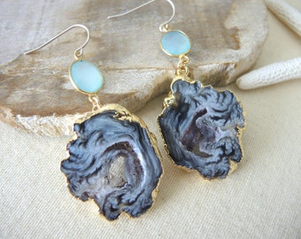 SALE, Agate Earrings, Agate Slice Geode Earrings, Agate Druzy Earrings, Agate Geode Earrings, Jewelry Gifts For Her, Gold Bezel Earrings