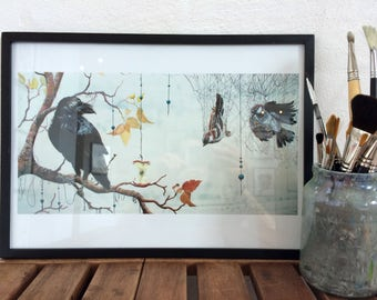 Art Print: Caught in a Net. Limited edition of 45 prints.
