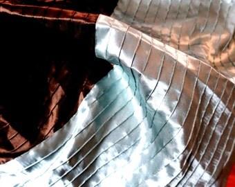 """DUVET ... King / Queen  Silk  Duvet Duvet Cover Light Blue w Brown & beige 88"""" x 90"""""""