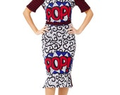 African Print Ankara and Dog Tooth Knitted  POP ART 'Pop' Winter Top and Skirt Combo | Knitted Top and Skirt | WINTER Warmer Top and Skirt
