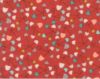 Ninja Cookies by Jenn Ski for Moda - Geometric Pinwheel - Persimmon Red - 1/2 Yard Cotton Quilt Fabric
