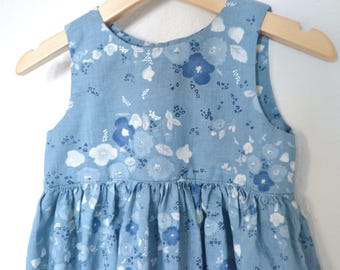 Ready to ship - Nani Iro Little Letter Blue Dress  Size 3