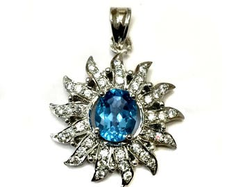 Natural Blue Topaz 925 Sterling Silver Rhodium Plated Pendant setted Cz stones Sun style pendant daily wear jewelry christmas giftforher