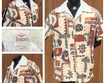 VINTAGE 1960s-70 Jantzen Terry Cloth Lined CABANA Shirt / Pool Shirt - Aloha Shirt/Hawiian Shirt - Made in the U.S.A.