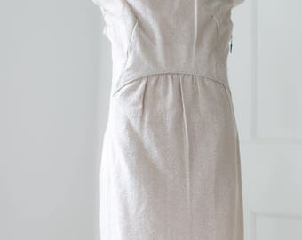50s 60s Blush Lamé Sheath Dress - NWT // Silver Lurex Dress, Vintage 1960s Metallic Dress Tinsel Shift Dress, SM