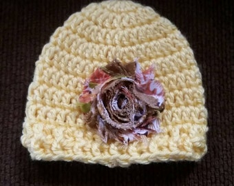 Stocking hat, newborn, yellow, removable hair clip