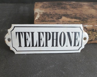 French Vintage Telephone enamel sign. Wall hanging. Home decor. Office decor