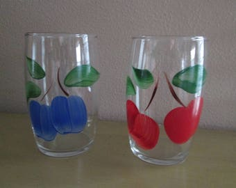 2 Vintage Glass Tumblers with Fruit
