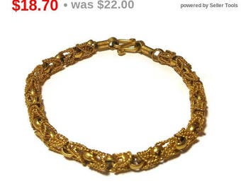 SALE Gold link bracelet, gold links combine with twisted rope links for an intricate look