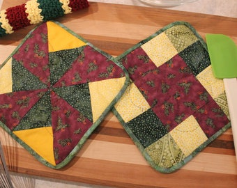 Hand Quilted Pot Holder-Crocheted Washcloth Set of 3 - Wine Green Holly Branch - Mother's Day Holiday Gift Basket Gift