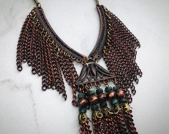 Long Fringe Copper Necklace