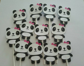 12 Panda cupcake toppers, baby shower party decoration