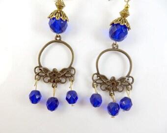 Clearance - Blue flower earrings