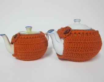 Pumpkin Teapot Cozy, Orange Teapot Cozies, Teapot Cozy for Fall, Cozy for Teapots, Cover for Teapots, Tea Cozy with Button, Crochet Tea Cozy