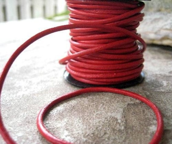 """2mm Red Leather Cord Round Jewelry Lace 3 yard and 17"""" Sale"""