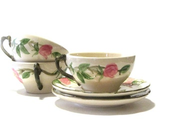 Franciscan Ware Desert Rose Teacups and Saucers Hand Painted Pink Blossoms Six Piece Set Mid Century Serving