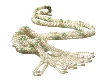 Pearl Beaded Rope Tassel Necklace Lariat Deco Flapper Faux Beads Pastel Green and Peach With Rhinestone Rondelle Accent