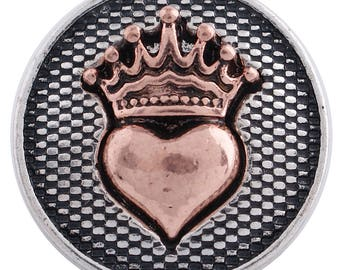 1 PC - 18MM Heart Crown Copper Silver Charm for Snap Jewelry KC6264 Cc3322