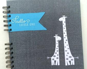 Baby Book |  Baby Memory Album | Blue Grey Giraffes Personalized Wire Bound Baby Memory Book Keepsake Album