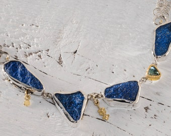 Lapis lazuli Necklace, Silver Statement Necklace, Lapis Necklace, Raw Stone Necklace, Bohemian Necklace, Necklace, Blue Necklace Statement