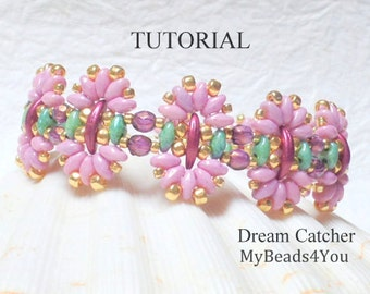 Beading Tutorial Pattern,Beading Instruction,Seed Bead Pattern,Bead Schemi,DIY Jewelry,Bracelet Tutorial,SuperDuo Bead Patterns,2 Hole Beads