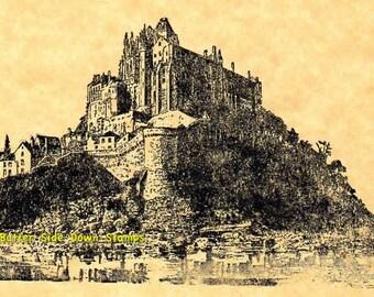 Le Mont Saint Michel Normandy Rubber Stamp