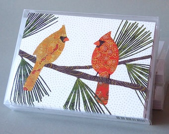 Pair of Cardinals: A boxed set of 10 blank holiday cards, thank you