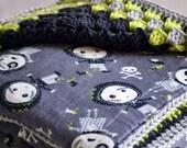 Zombie doll crochet baby blanket, baby blanket, crib bedding, granny square reversible crochet baby blanket, crochet afghan, travel blanket